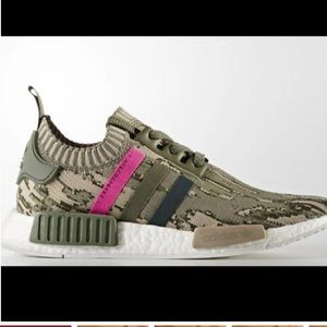 Adidas NMD R1 Glitch Camo Sneakers Olive Green Shoes